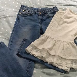 7 for all Mankind jeans and lacy cream top size 8